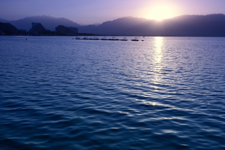 beautiful sunrise in Eilat, Israel photo