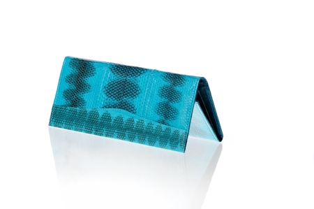 turquoise purse over white background Stock Photo - 18264068