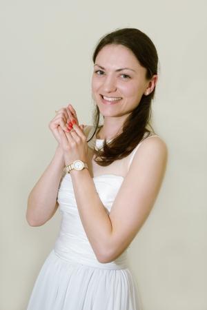 beautiful smiling bride in studio photo