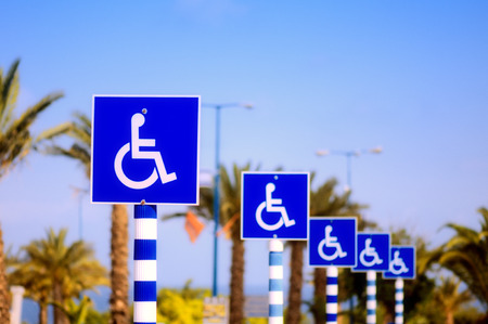 Closeup of handicapped parking place sign