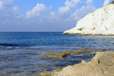 chalk cliff at Rosh Hanikra reserve, northern Israel photo