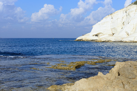 hanikra: chalk cliff at Rosh Hanikra reserve, northern Israel