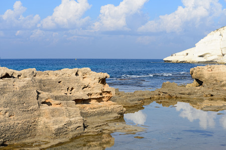 chalk cliff at Rosh Hanikra reserve, northern Israel photo