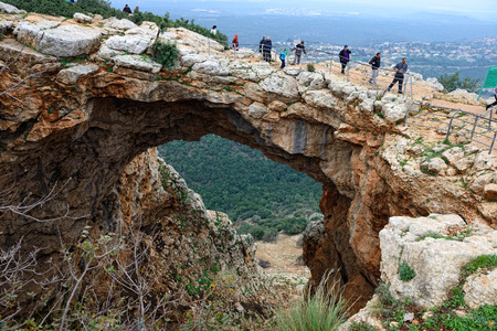 NATIONAL PARK ADAMIT, ISRAEL- DECEMBER 18, 2014: Adamit Park provides a magnificent view of the hilly landscapes of Western Galilee and Haifa Bay, including the precipitous slopes of Nahal Betzet and Nahal Namer
