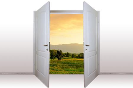 view through door: view of mountain landscape through open door