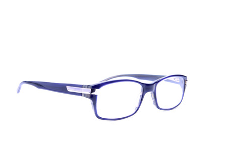 blue eyeglasses isolated on white background Stock Photo