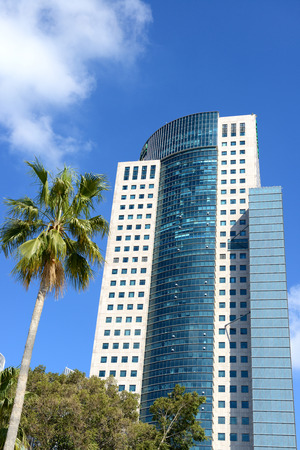 TEL AVIV, ISRAEL- 14.03.2015: Modern office building in down town of Tel aviv, Israel. The second most populous city and the largest metropolitan in Israel with population of 410,000.