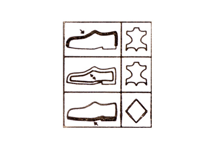 suede: Footwear label symbols on a white background