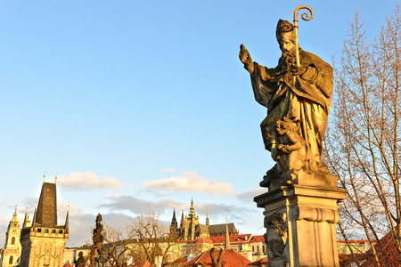 st charles: Sculpture of St. Augustine on the Charles Bridge in Prague (Czech Republic)