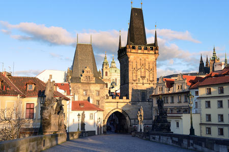 Charles Bridge in Prague on a spring morning photo