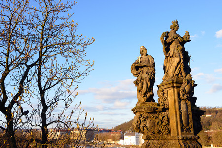 st charles: Sculpture of St.Margarita and St. Elisabeth on the Charles Bridge in Prague. Czech Republic