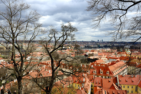 praha: roofs and chimneys of houses in Praha