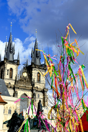 variegated ribbons on the Easter Holiday in Prague