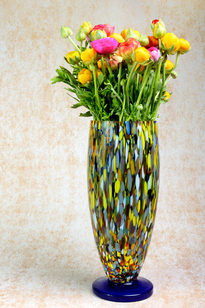 buttercups: bouquet of bright multicolor buttercups in vase