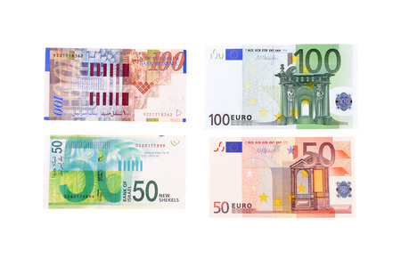one hundred euro banknote: banknotes of sheqels and euro isolated on white background