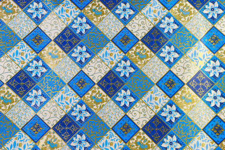 gold color: ornamental wrapping paper in blue and gold color