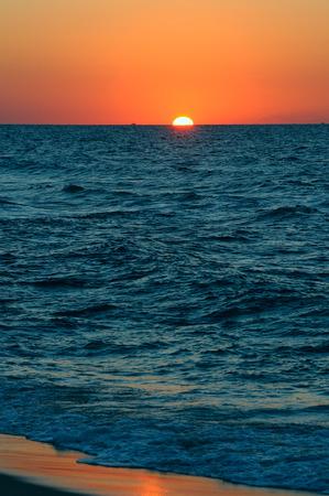 wallpaper background: beautiful sunset on Mediterranean sea Stock Photo