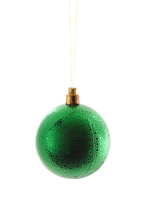 christmas toy: green  ball ,christmas toy over white background