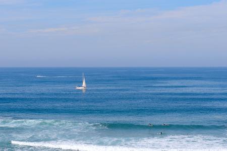 dinghies: Sailing sailboat in Mediterranean sea near Ashkelon, Israel.