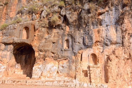 nature reserves of israel: Ruins of temple dedicated to Pan, ancient city of Caesarea Philippi. Fragment. Stock Photo