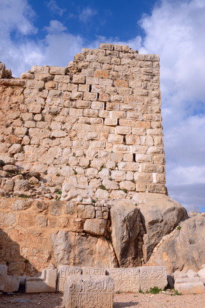 the golan heights: Stone ancient inscription from 1275, during the rule of the Mamluk Sultan Baybars. Golan heights, on a crest about 800 m high above sea level. National park, Israel