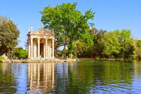 villa borghese: Villa Borghese in Rome, Temple of Esculapio, Pincian Hill, Italy. Stock Photo
