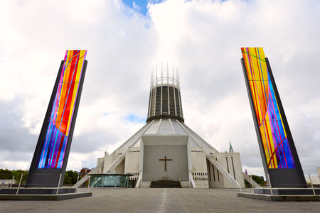 buttresses: LIVERPOOL, UNITED KINGDOM- JULY 27, 2016: The modern Metropolitan Cathedral in Liverpool, United Kingdom.