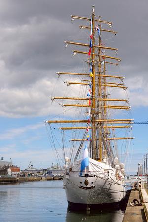 frigate: DUBLIN, IRELAND- JULY 28, 2016: Old sailing ship Frigate Libertad anchored in port area of Dublin.