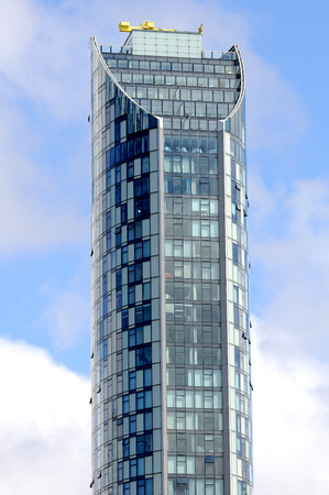 steel tower: LIVERPOOL, UNITED KINGDOM- JULY 27,2016: West Tower, Brook St, Liverpool L3 9PJ. Highest modern building in Liverpool. Editorial