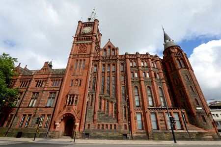 Beautiful red brick building of the Liverpool University. Victoria Building.