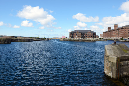 mersey: Historic Buildings at Liverpool Waterfront at sunny day.