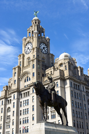 king edward: Statue of King Edward VII of Britain outside the Royal Liver Building on the waterfront at Liverpool. UK.