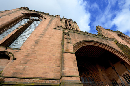 gothic revival: Liverpool Cathedral of the Church of England. Gothic Revival landmark. Wide angle shot.