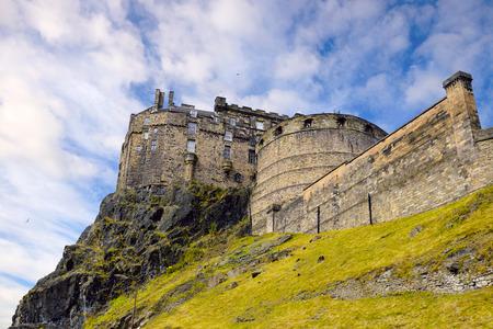 Edinburgh Castle over cloudy sky, Scotland, United Kingdom.