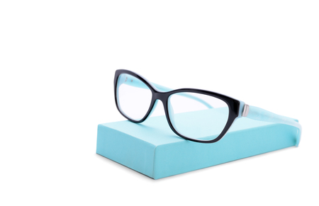 two-colored eyeglasses isolated on white background Stock Photo