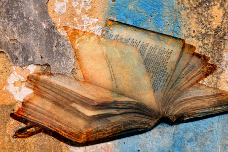 ancient torah over cracked paint concrete wall texture background