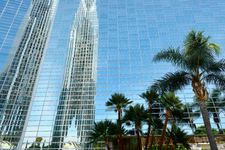 LOS ANGELES, CA- APRIL 07, 2017: The Crystal Cathedral is a church building of the Roman Catholic Diocese of Orange by Philip Johnson.