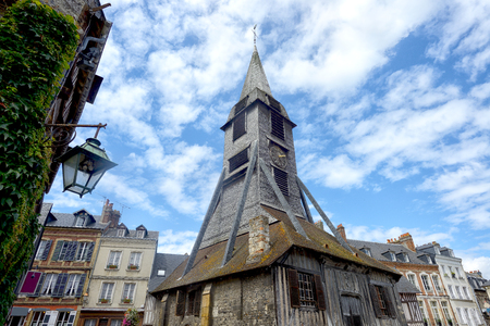 Bell tower of the Sainte Catherine church of Honfleur in Normandy. France. Editorial