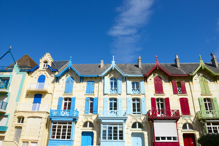 Traditional and colorful houses in Wimereux, France. Imagens