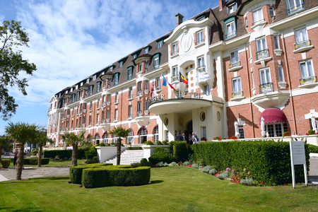 LE TOUQUET-PARIS-PLAGE, FRANCE- AUGUST 03,2017: Hotel Westminster. Art Deco façade, period lift and majestic staircase. Michelin-starred restaurant, Spa Nuxe and renowned golf courses.