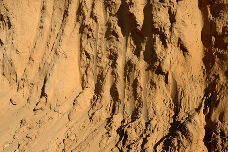 grooves: Sand formation and layers on the bulding site, closeup.