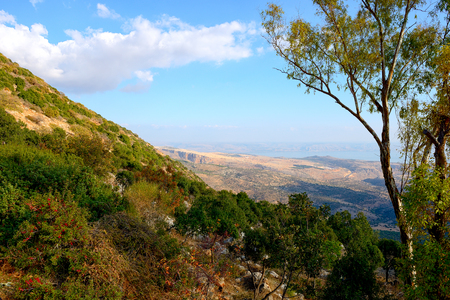 View of the sea of Galilee (Kineret lake) from mountain, Northen Israel.