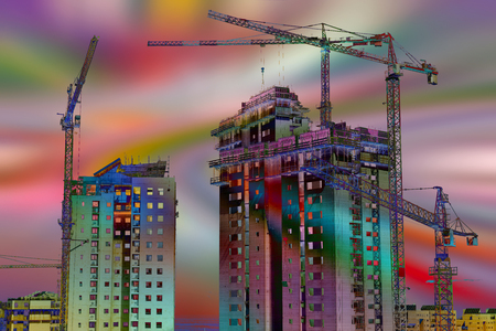 Building site over colored background. Clip art. Stock Photo