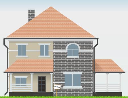 Casa in vendita. Simbolo dell'oggetto d'arte dell'illustrazione vettoriale