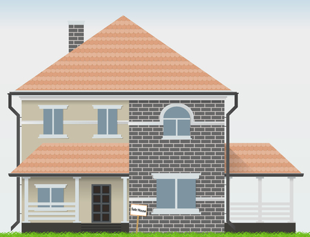 Haus zu verkaufen. Vektorillustrationskunstobjektsymbol