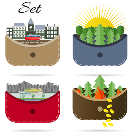 Set of vector illustrations sea nature ship