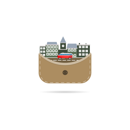 The city in the wallet vector figure road concept