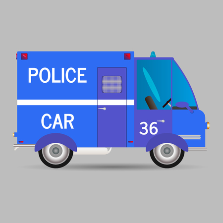 Police car.Vector illustration window car carriage profile patrol  イラスト・ベクター素材