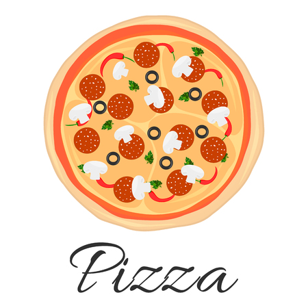 Pizza vector illustration food icon flat pepper