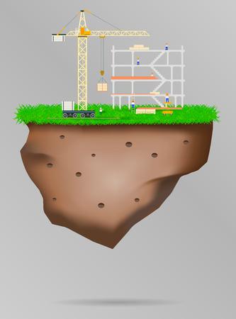 Construction site Vector illustration steel banner flat Imagens - 122448246